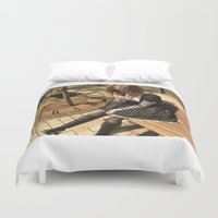 clockwork Duvet Covers featuring Clockwork lady by Catherine Mitchell