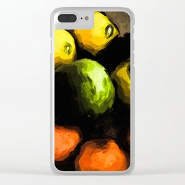 Apples of Yellow and Green with Orange Mandarins Clear iPhone Case