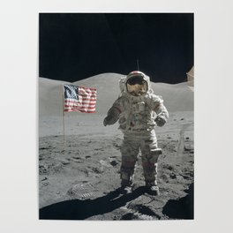 Astronaut on the Moon  - Vintage Space Photo Poster