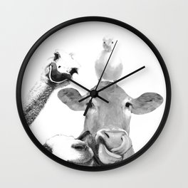 Black and White Farm Animal Friends Wall Clock