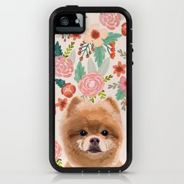 Pomeranian floral dog portrait cute art gifts for dog breed pom lovers iPhone Case