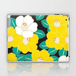 Japanese Style Camellia - Yellow and Black Laptop & iPad Skin
