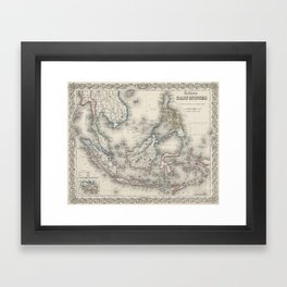 Vintage Map of Indonesia and The Philippines Framed Art Print