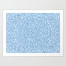 The Most Detailed Intricate Mandala (Blue Cobalt Denim) Maze Zentangle Hand Drawn Popular Trending Art Print