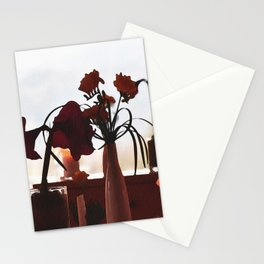 Flowers in vases in a restaurant outside Bled castle, Slovenia Stationery Cards