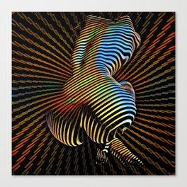 0474s-MM Sensual Abstract Figure Zebra Striped Op Art Nude Woman Back Butt Powerful Artwork Canvas Print
