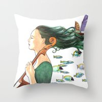 cello Throw Pillows featuring Sofia (Cello) by Vivian Cheung