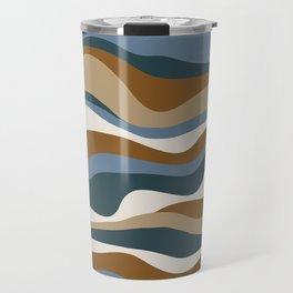 Cordillera Stripe: Teal Blue & Rusty Orange Combo Travel Mug