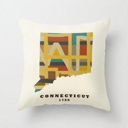 Connecticut state map modern Throw Pillow