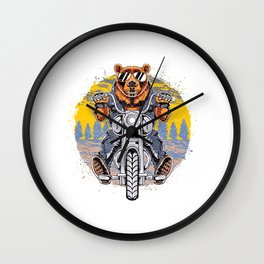 Cool Bear Motorcycle Rider on Bike for Motorcycle and Bear Lover Wall Clock