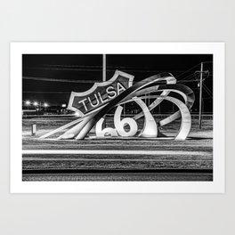 Monochromatic Route 66 Rising Sculpture in Tulsa Oklahoma Art Print