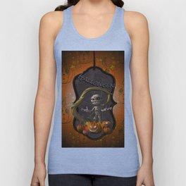Halloween, funny mummy with pumpkins Unisex Tank Top
