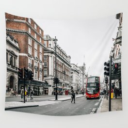 Red bus in Piccadilly street in London Wall Tapestry