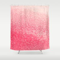 coral Shower Curtains featuring CORAL by Monika Strigel®