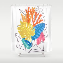 Leaves and corals Shower Curtain