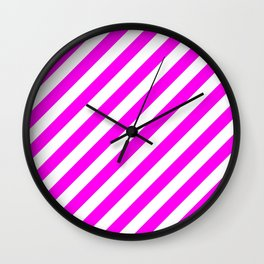 Diagonal Stripes (Magenta & White Pattern) Wall Clock