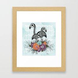 Flamingo Skeleton Halloween Composition Framed Art Print