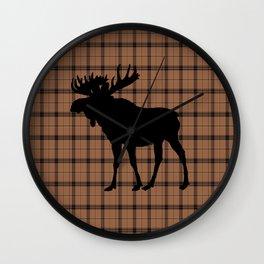 Plaid Moose: Brown Wall Clock