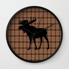 Plaid Moose: Brown Wall Clock