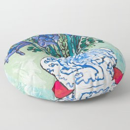 Iris Bouquet in Blue and White Asian Tiger Jar on Green and Coral Floor Pillow