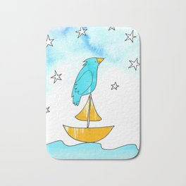 "Bird on a Boat, Dreaming (from the book, ""You, the Magician"") Bath Mat"