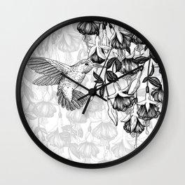 Hummingbird and fuchsia Wall Clock