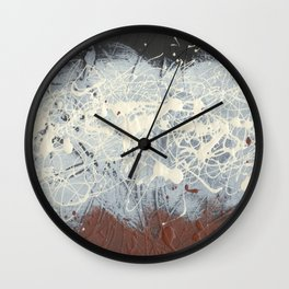 Cool Pollock Rothko Inspired Black White Red Abstract - Modern Art Wall Clock