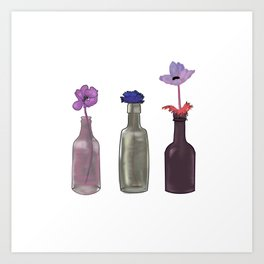 Luxury Flowers in Bottles Art Print