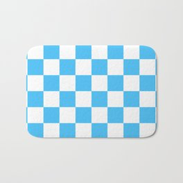 Cheerful Blue Checkerboard Pattern Bath Mat