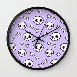 Cute Skulls // Purple Wall Clock