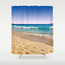 Footsteps in sand Shower Curtain