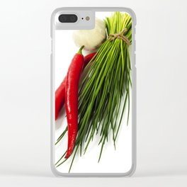 A bunch of fresh chives and vegetables over white Clear iPhone Case