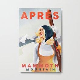 """Apres Ski Mammoth"" Cool Vintage Pinup Girl Skiing Art Metal Print"