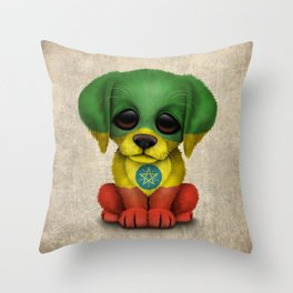 Cute Puppy Dog with flag of Ethiopia Throw Pillow