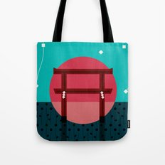 Snowing Sunset Tote Bag