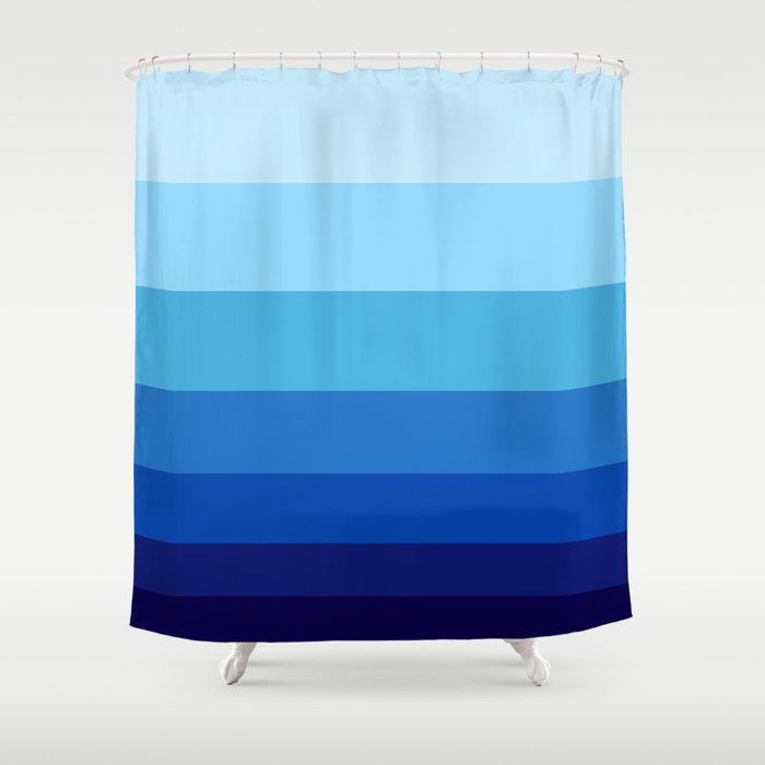 Colorful Blue Gradient Geometric Pattern Shower Curtain By Enshape