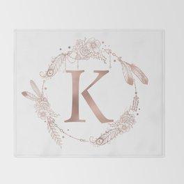 Letter K Rose Gold Pink Initial Monogram Throw Blanket