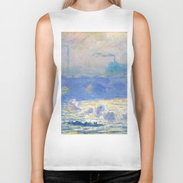 """Claude Monet """"Waterloo Bridge"""" Biker Tank"""