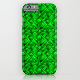 Volumetric design with interlaced circles and green rectangles of stripes. iPhone Case