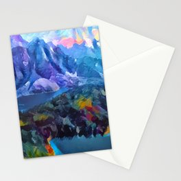Abstract Landscape - Mountains and lakes Stationery Cards