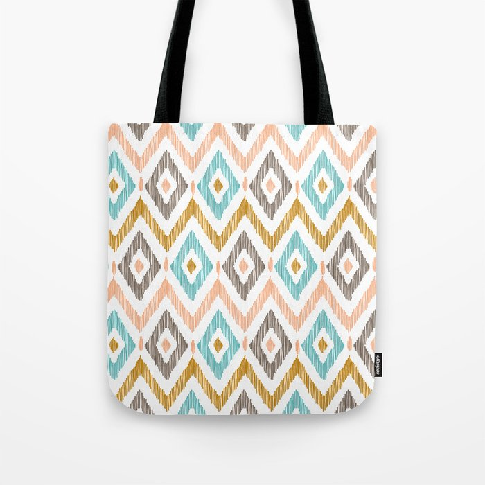 Sketchy Diamond IKAT Tote Bag