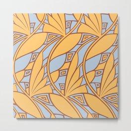 Modern art nouveau tessellations gamboge azure Metal Print