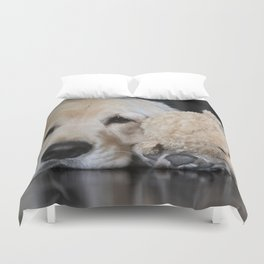 Golden Retriever with Best Friend Duvet Cover