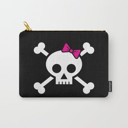 Girl pirate skull and bones with pink ribbon hair bow Carry-All Pouch