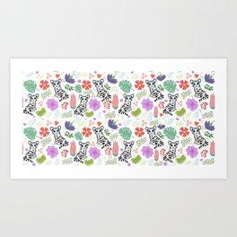 Tiger and Jungle Florals Art Print