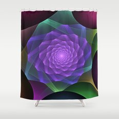 Ribbons turning into a rose, fractal abstract art Shower Curtain