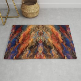 Southwestern Native American Ethnic Tribal Inspired Colorful Abstract Pattern Rug