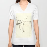 bull V-neck T-shirts featuring Bull by Attila Hegedus