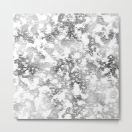 scrubbed silver marble Metal Print