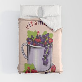 Mug with fresh black and red currant berries. Vitamin C Comforters